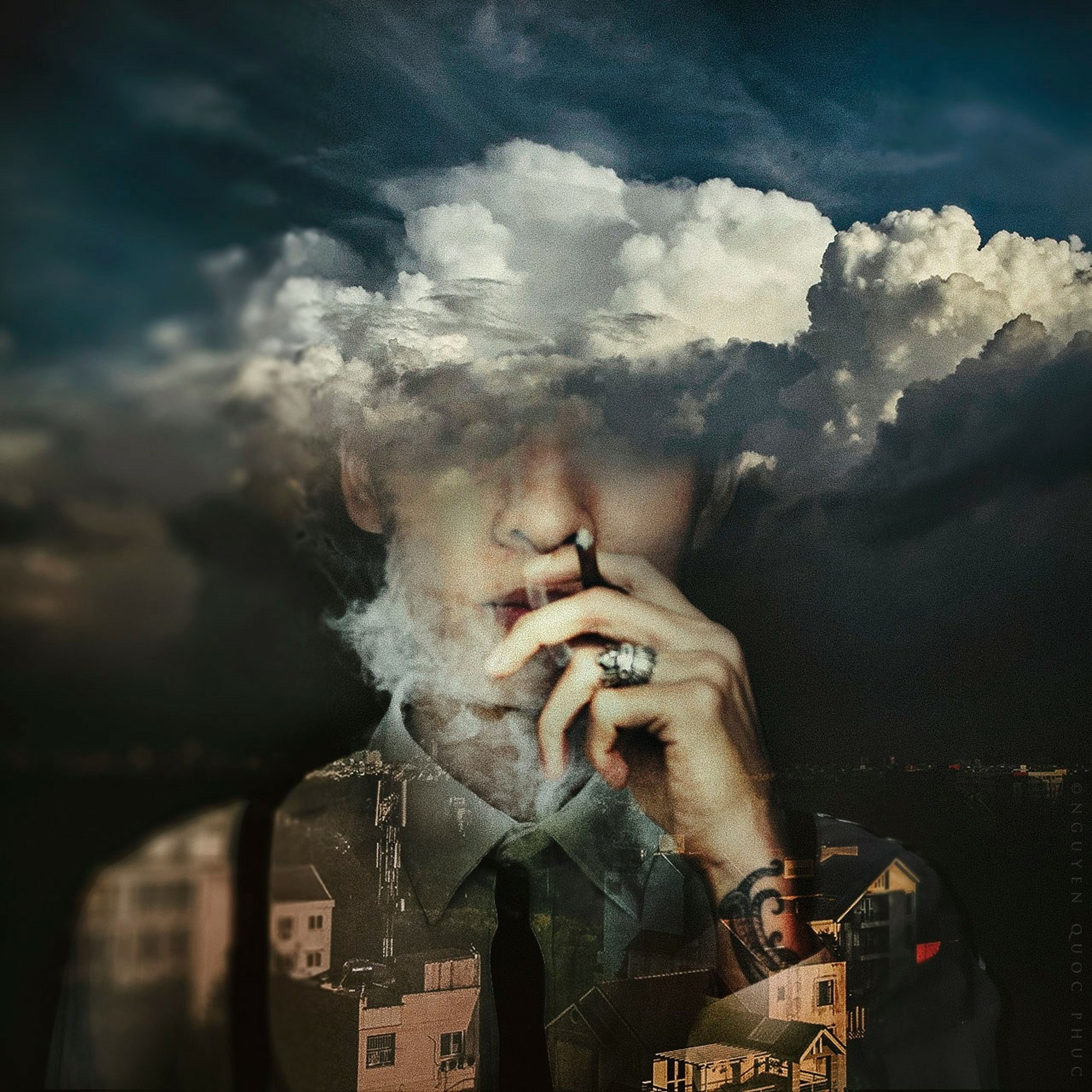 sky, cloud - sky, person, part of, lifestyles, men, leisure activity, cloudy, animal themes, cropped, outdoors, smoke - physical structure, weather, unrecognizable person, low angle view, danger, smoke