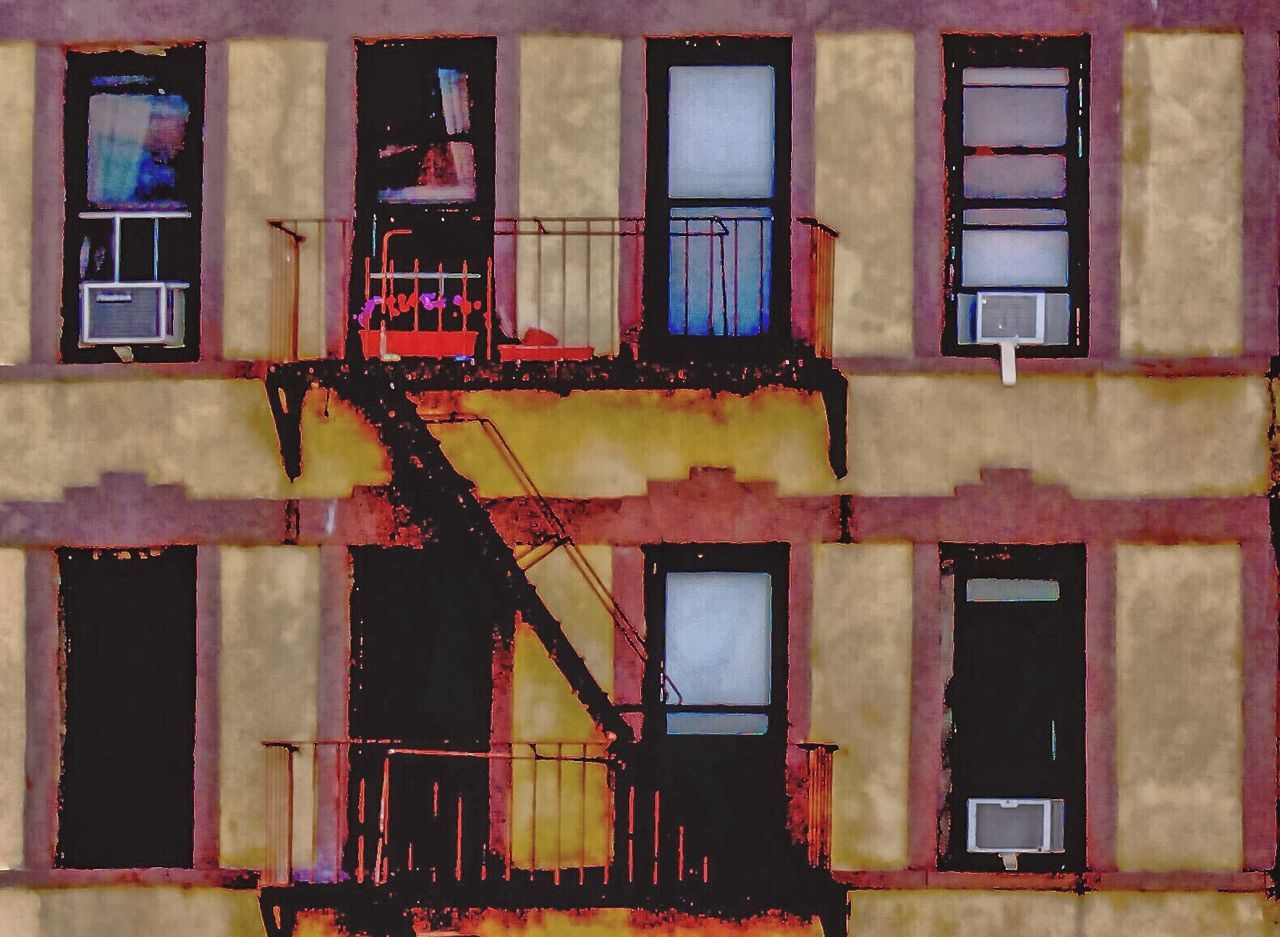 architecture, building exterior, window, built structure, residential building, no people, outdoors, fire escape, day