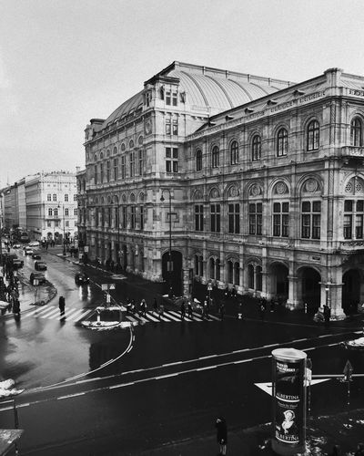 Building Exterior Vienna Wien Architecture Blackandwhite City Architecture Street Transportation Built Structure Road Car Outdoors Day No People Sky Historical Building
