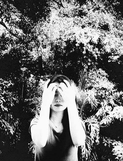 Dolorosa Portrait Study_xxx01 Black Blackandwhite Close Up Conceptual Photography  Covered EyeEm Gallery Eyem Best Shots EyeemPhilippines Facial Facial Experiments Foliage Highkey Outdoor Vegetation White