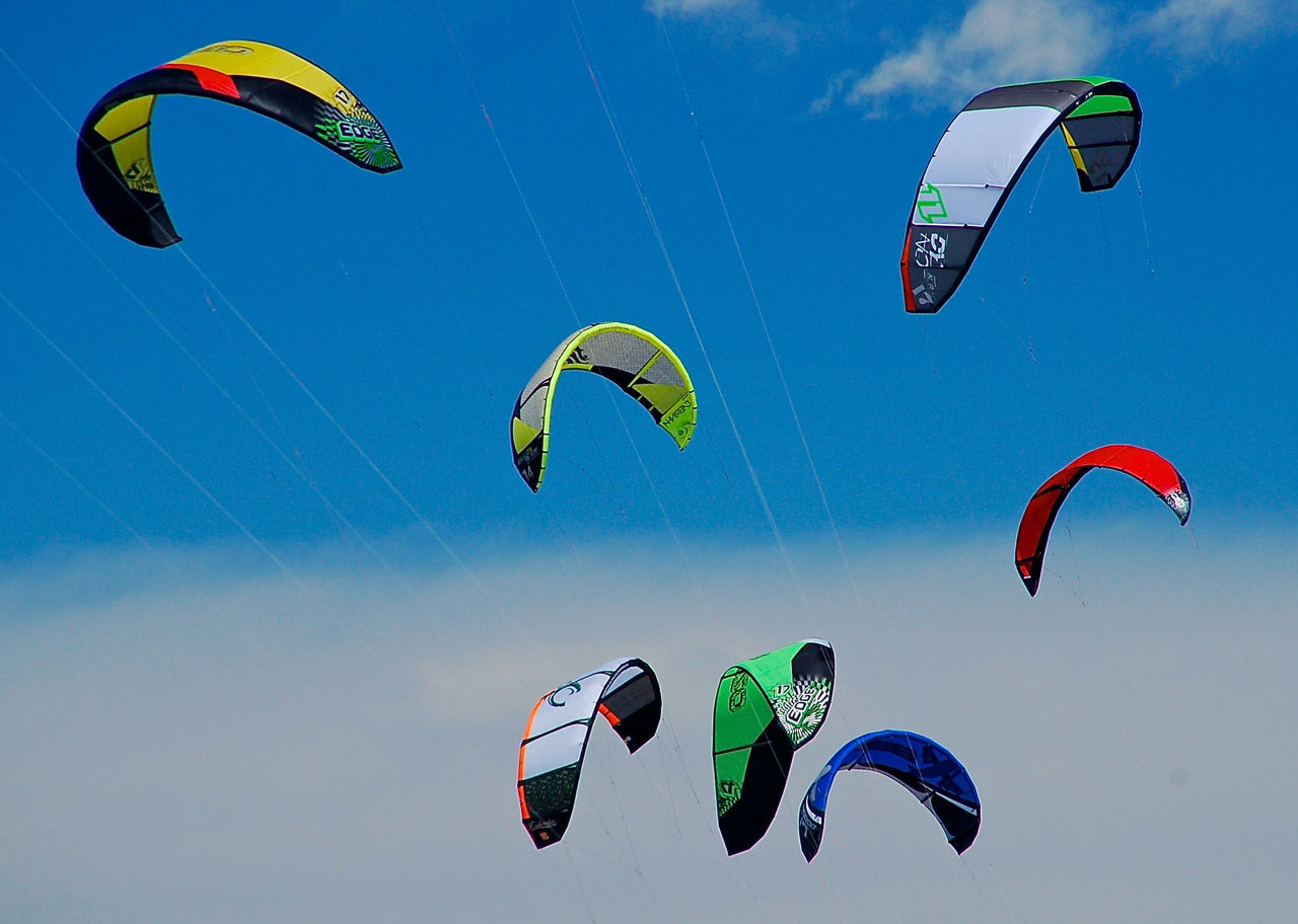 Adventure Adventure Club Blue Day Enjoyment Extreme Sports Freedom Fun Kite Leisure Activity Lifestyles Low Angle View Mid-air Multi Colored No People Kitesurfing Sky Sport Colour Of Life Live For The Story