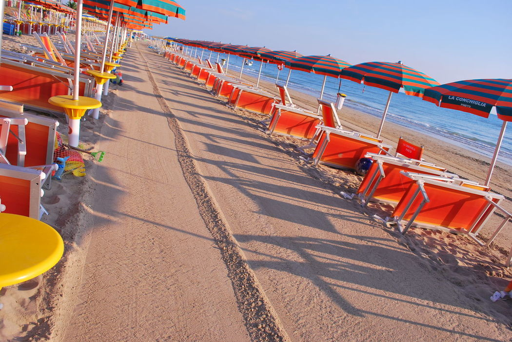 Abruzzo Beach In A Row Large Group Of Objects Multi Colored No People Ombrellonichiusi Sand Sunlight