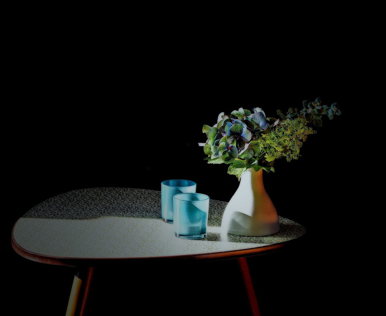 Still Life With Kidney Shaped Table and Flowers Black Background Fifthies Flower Flower Head Flower Pot Fragility Freshness Furniture Glass Reflection Glasses Hdrphotography Indoors  Kidney Shaped Light Light And Shadow Möbel Nierentisch No People Still Life Stillleben StillLifePhotography Studio Shot Table Vase Vintage Style