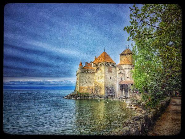 Switzerland Chillön  Chillon Castle Chillonchateau Chateau De Chillon Château Architecture