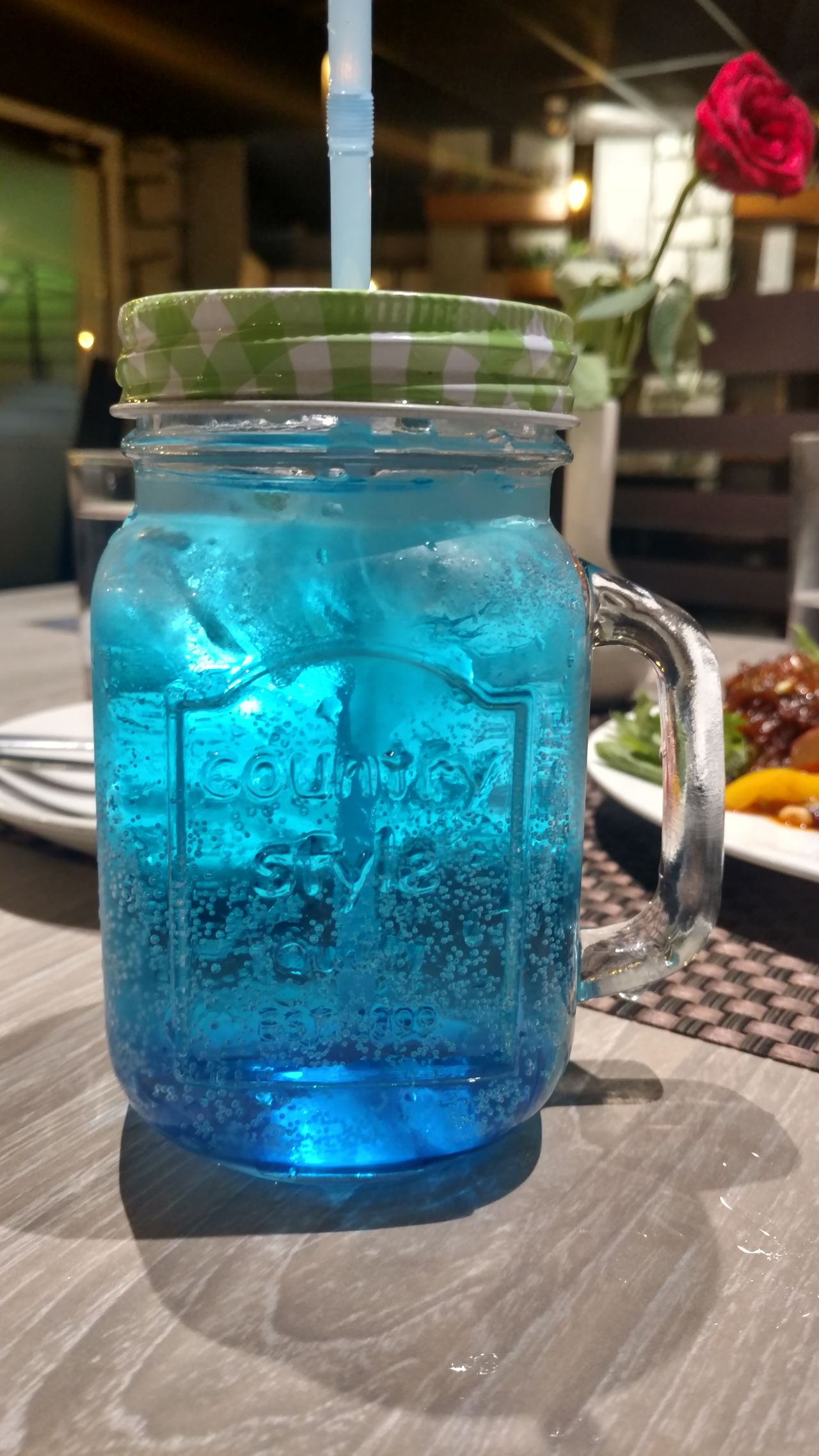 Cool Drink Refreshment Jar Table Food And Drink Blue Freshness Indoors  Day Natural Pure NoEdits  Blue Water BLUE LIME Lime Limejuice Hotel Evening With Friends With Friends <3