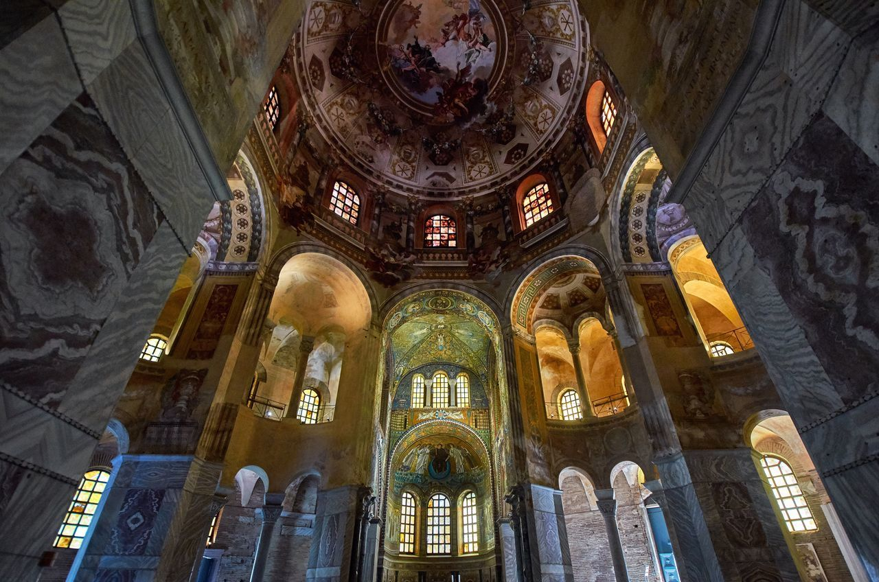Basilica of San Vitale, Ravenna Indoors  No People Interior Byzantine Architecture Byzantine Medieval Architecture Medieval Architecture Arch Historical Building Historic Catholic Place Of Worship Church San Vitale Basilica Italy Ravenna Dome Religion Low Angle View Wide Angle World Heritage Religious Architecture