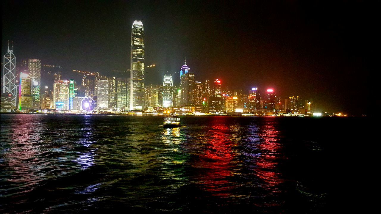 HongKong Hongkong Bay Cities At Night