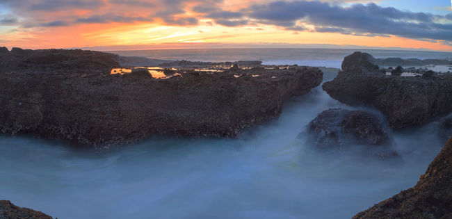 Long exposure at Little Corona Beach in Corona del Mar, California, United States at sunset Beach Beach Day Beauty In Nature Cloud - Sky Cloudscape Corona Beach Corona Del Mar Landscape Long Exposure Long Exposure Shot Nature Outdoors Scenics Sea Sky Sunset Sunsets Travel Destinations Vacations