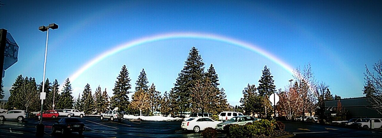 rainbow, double rainbow, no people, tree, nature, day, outdoors, car, beauty in nature, scenics, multi colored, spectrum, building exterior, sky, architecture, bubble wand, refraction