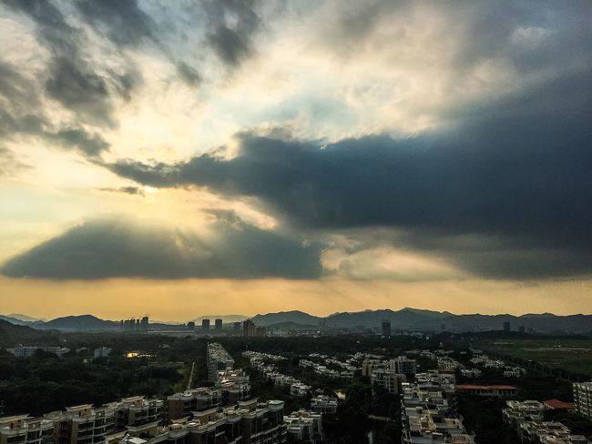 City Architecture Cityscape Built Structure Building Exterior Zhuhai China Sunset Cloud - Sky Crowded Sky City Life Mountain Cloudy Residential District Wide Shot Mountain Range Tall - High Outdoors Wide Aerial View Development