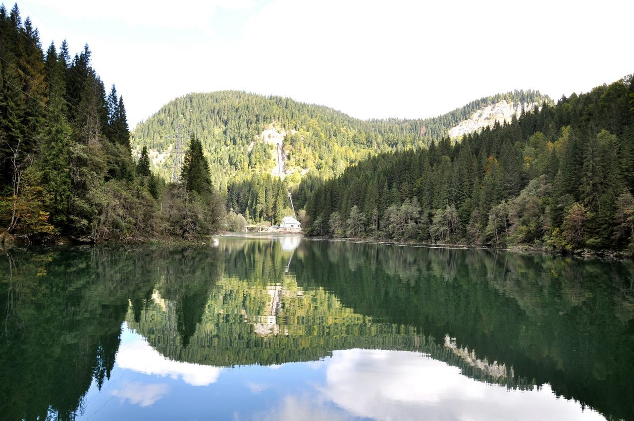 reflection, water, tree, waterfront, mountain, lake, tranquil scene, nature, tranquility, beauty in nature, no people, scenics, sky, outdoors, day, forest, symmetry, architecture