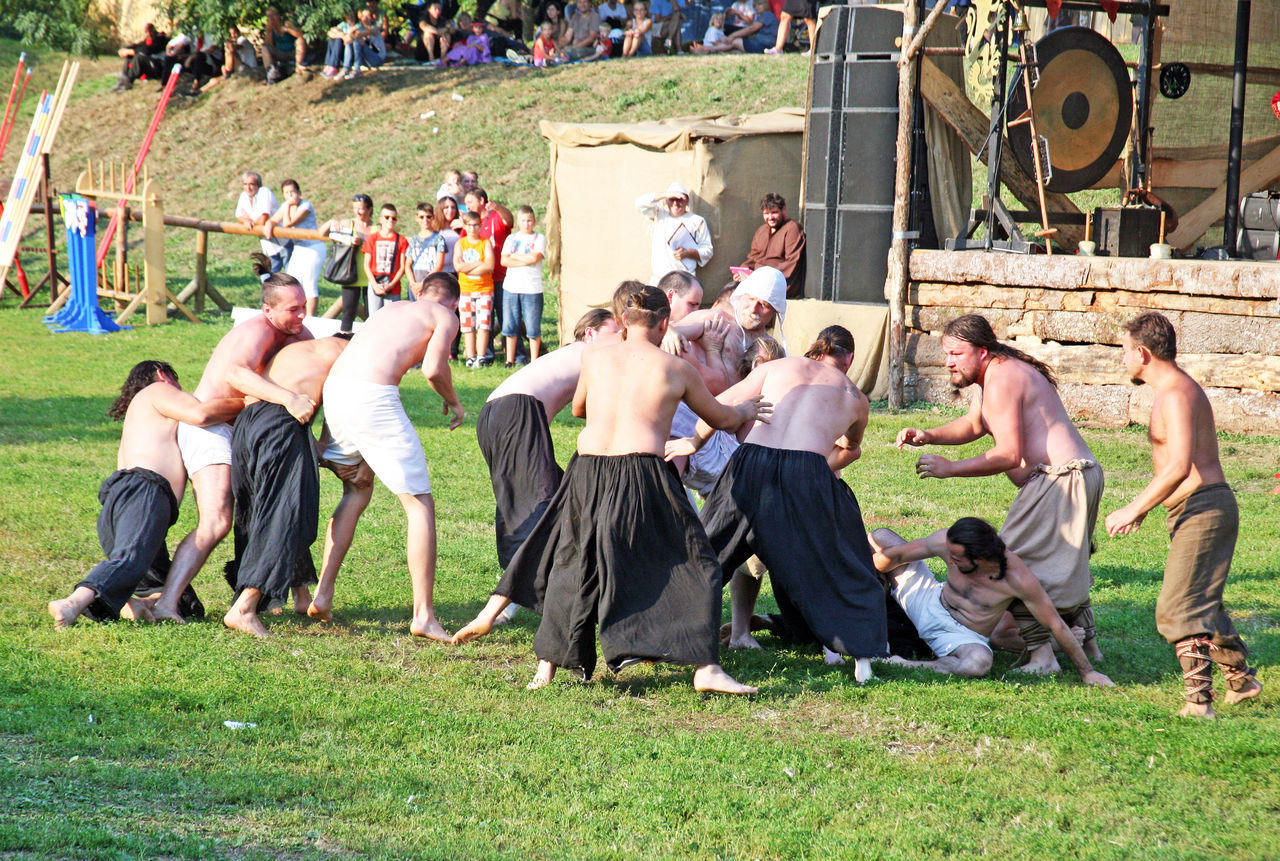 Renaissance Festival,Koprivnica 2016, medieval rugbi game, 10 2016. Ancient Competition Croatia Day Eu Europe Fair Field Full Length Grass Koprivnica Large Group Of People Medieval Oldfashioned Outdoors Renaissance Festival Rugbi Sport Summer Team Tournament