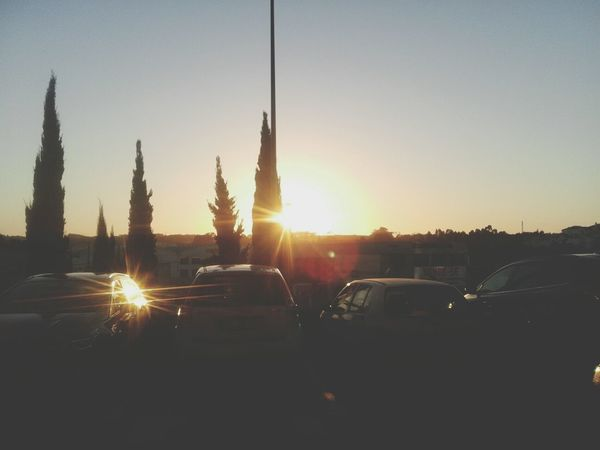 Sunset... sunset #sun #clouds #skylovers #sky #nature #beautifulinnature #naturalbeauty photography landscape Sunset Parked Car Sunlight Amateurphotography Leiria Portugal
