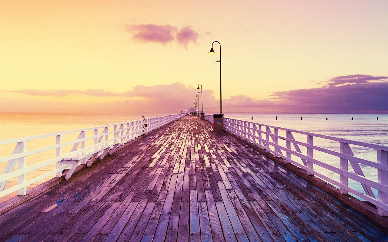 sunset, sea, sky, street light, railing, nature, water, horizon over water, scenics, wood - material, outdoors, jetty, the way forward, no people, wood paneling, beauty in nature, day