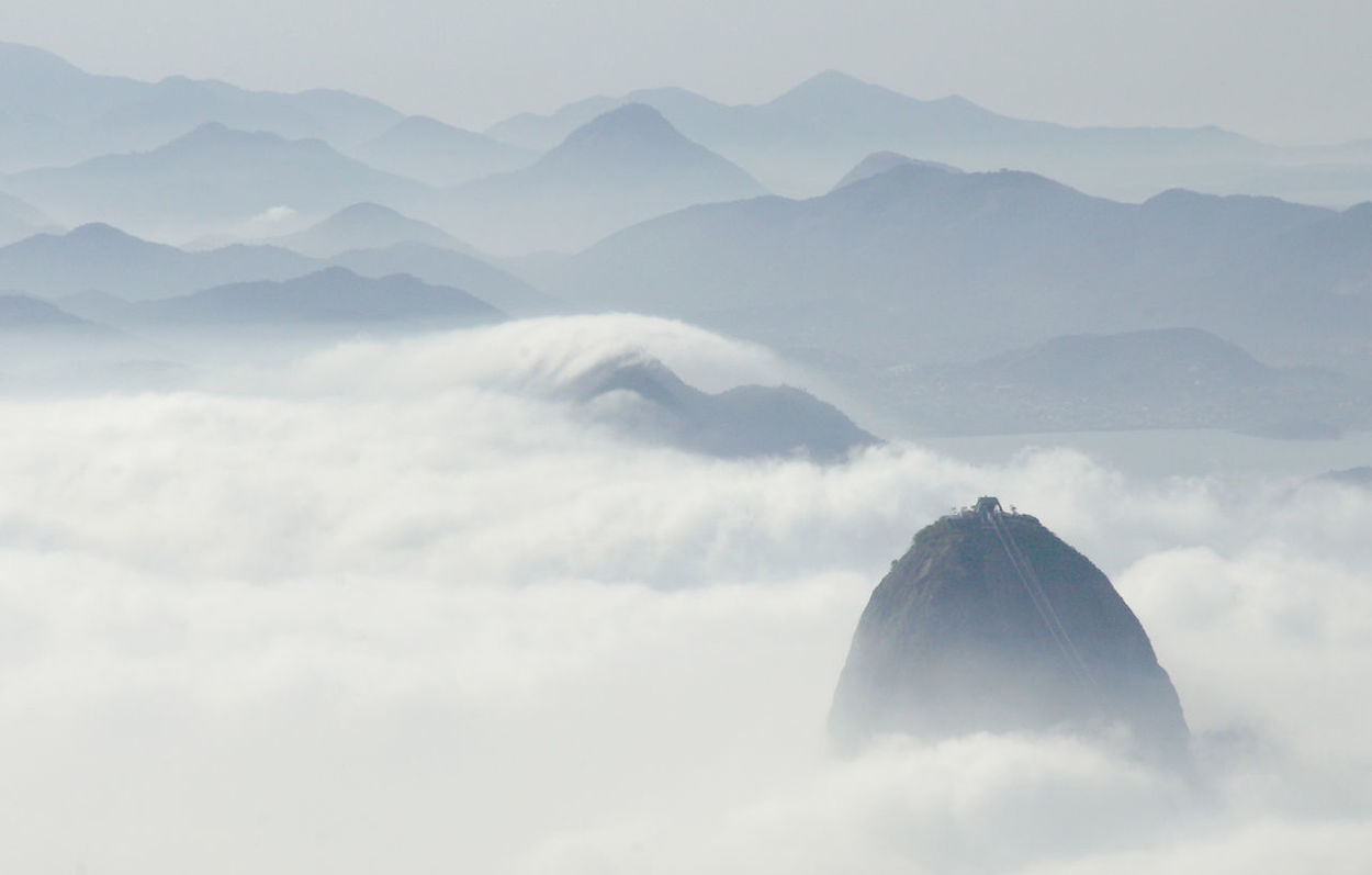 Rio De Janeiro Brazil Cloud Low Cloud Mist Travel High View Sugarloaf Shroud Peaks Mountains Cityscape Mystery Above The Clouds Waves Of Clouds Distant Mountains Landscape
