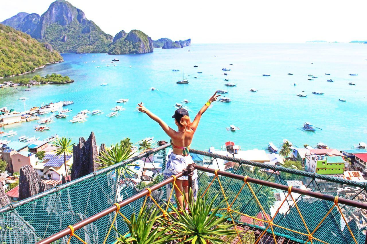 Sea Only Women One Woman Only Arms Raised Adults Only Adult Beach One Person Outdoors Human Body Part People Water Horizon Over Water Full Length Day Sky Vacations Standing Women Nature Photography Philippines ElnidoPalawan2017