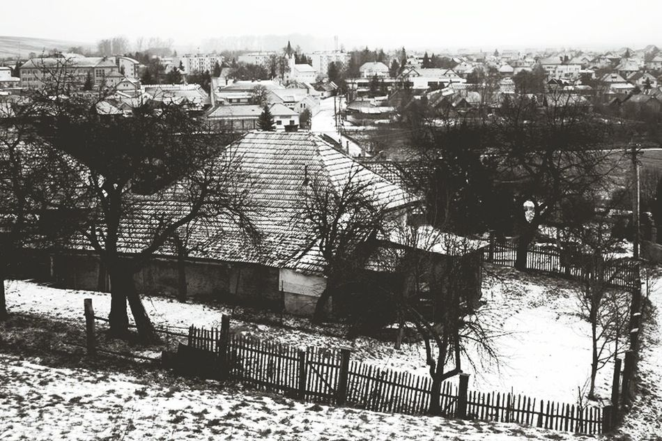 Village Old House Roofs Blackandwhite