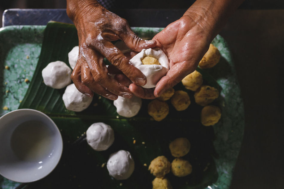 Stuffed sticky rice balls ASIA Backgrounds Cake Cuisine Cultures Eyeem Food  Family Food Food And Drink Fruit Hand Human Hand Lifestyles Mother Rice Ball Seafood Stuffed Sticky Rice Balls Sweet Vietnam Vietnamese Food Women