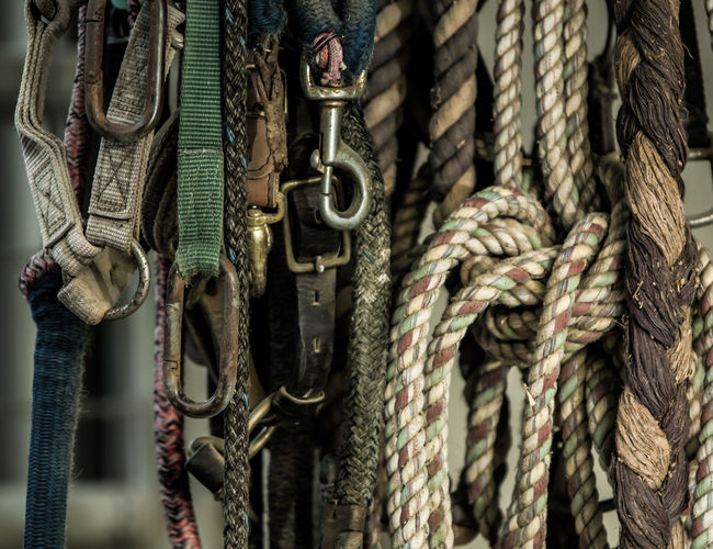 Close-up Detail Farm Farm Life Horse Leads No People Ranch Ranch Life Ropes Tack