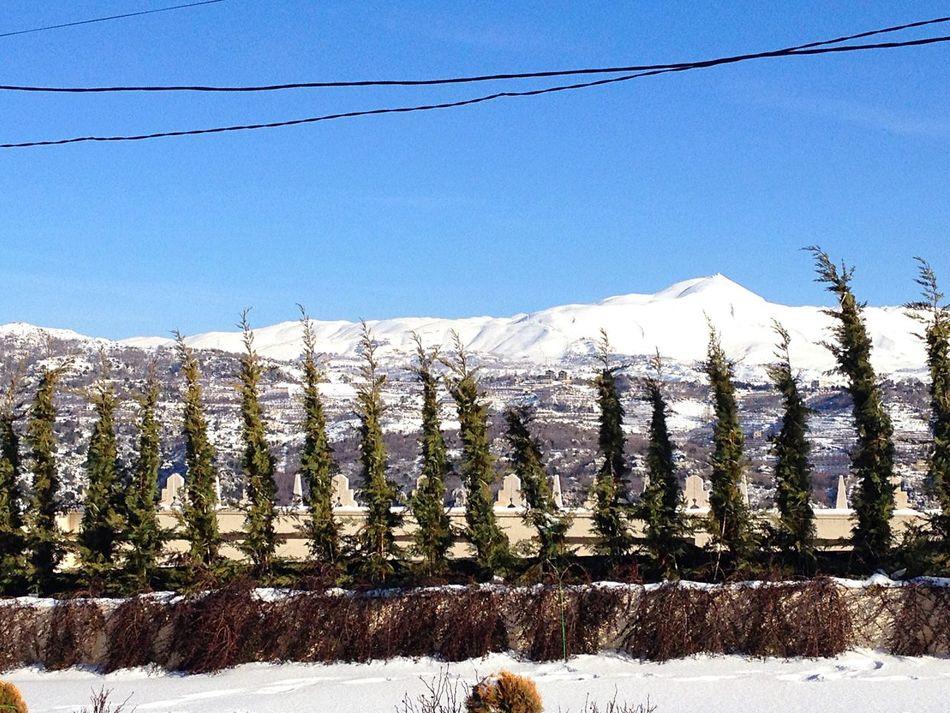 Snow Mountain Peak Mount Lebanon Keserwan Man And Nature Power Lines
