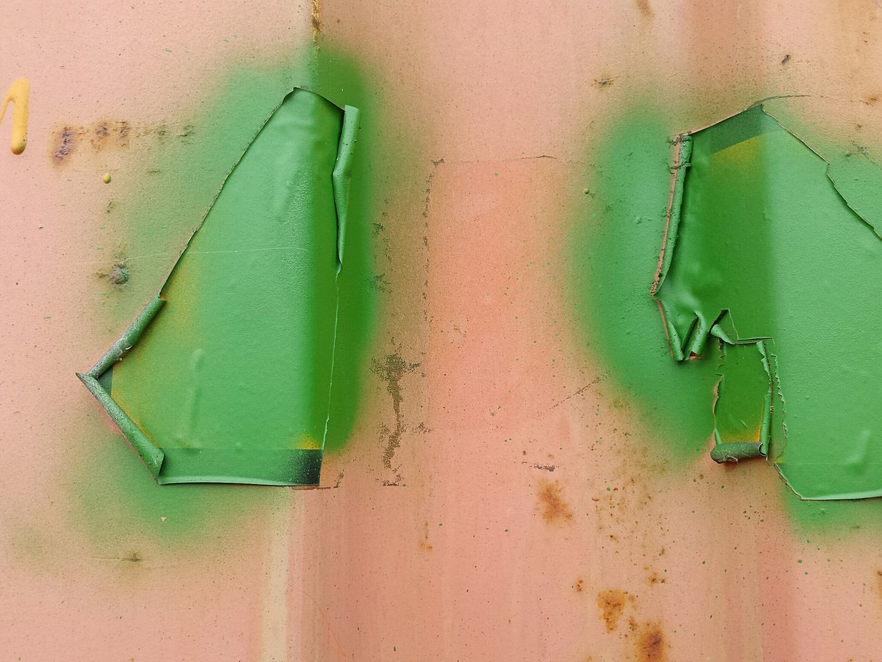 green color, close-up, no people, indoors, paint, architecture, day, built structure