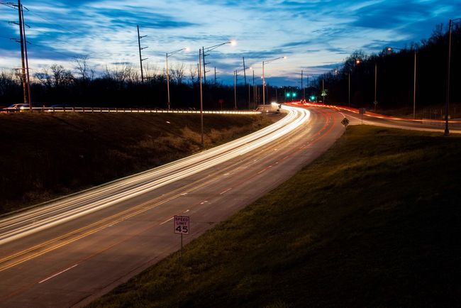 Photography In Motion Streaking Light Dusk Traffic Lights Highway