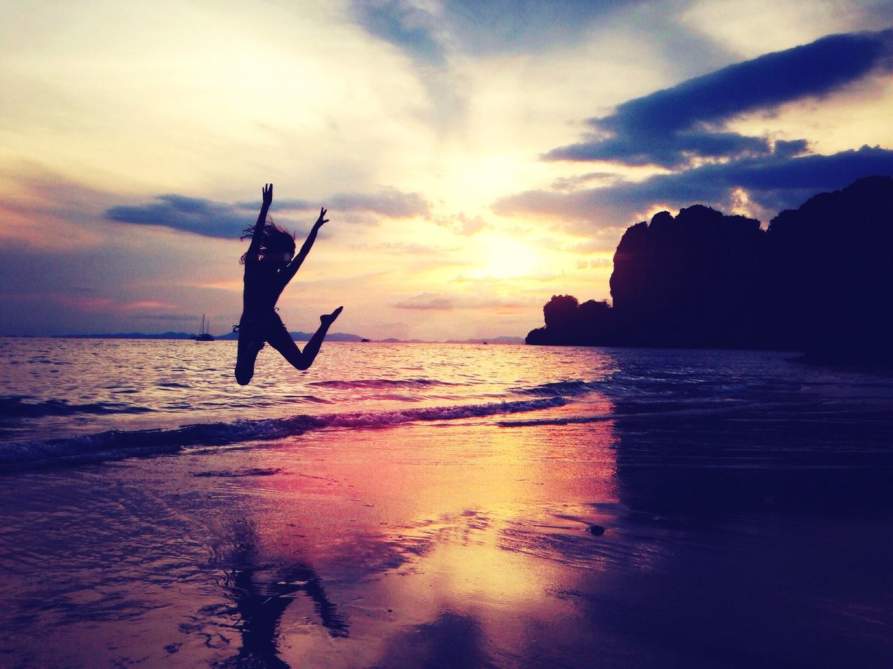 Beautiful stock photos of fun, Arm Raised, Beach, Beauty In Nature, Dusk