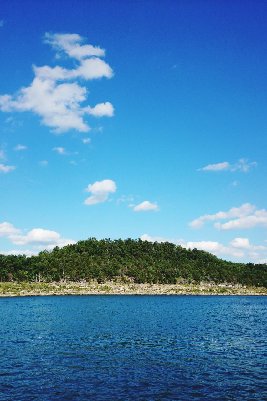 sky, blue, water, tree, nature, tranquil scene, scenics, cloud - sky, tranquility, beauty in nature, day, outdoors, no people, sea