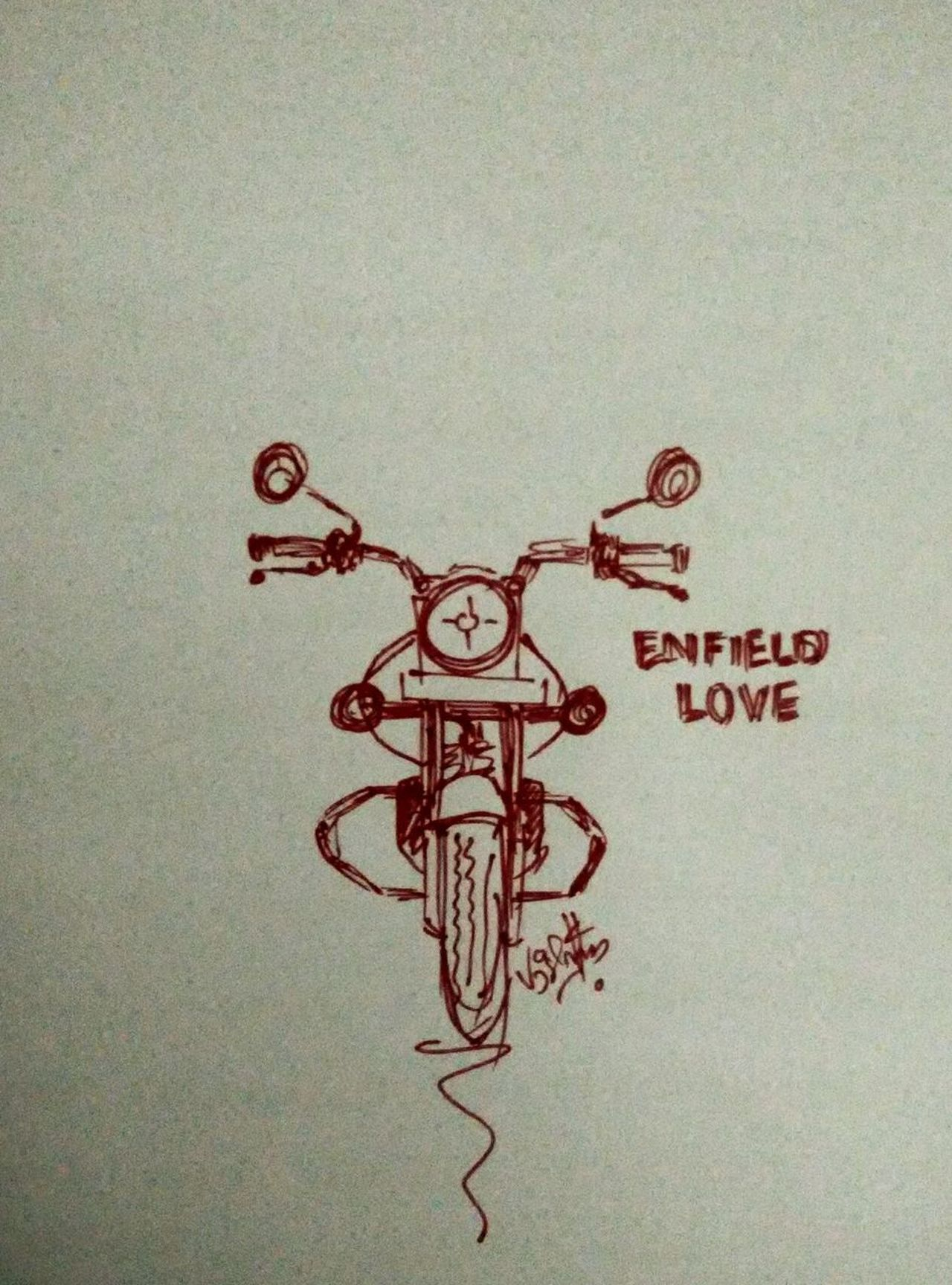 Pen Drawing Scrubble Royalenfield Redmiclicks