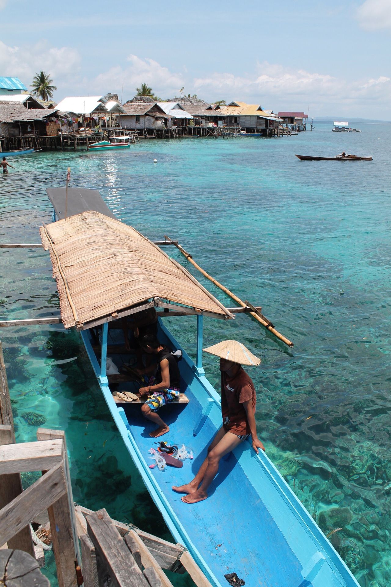 Water Nautical Vessel Sea Transportation One Person Wood - Material Day Boat Mode Of Transport Real People Outdoors Full Length Men Standing Sky Beauty In Nature Nature Outrigger One Man Only Adult Togian Islands... Gypsylife Clear Water