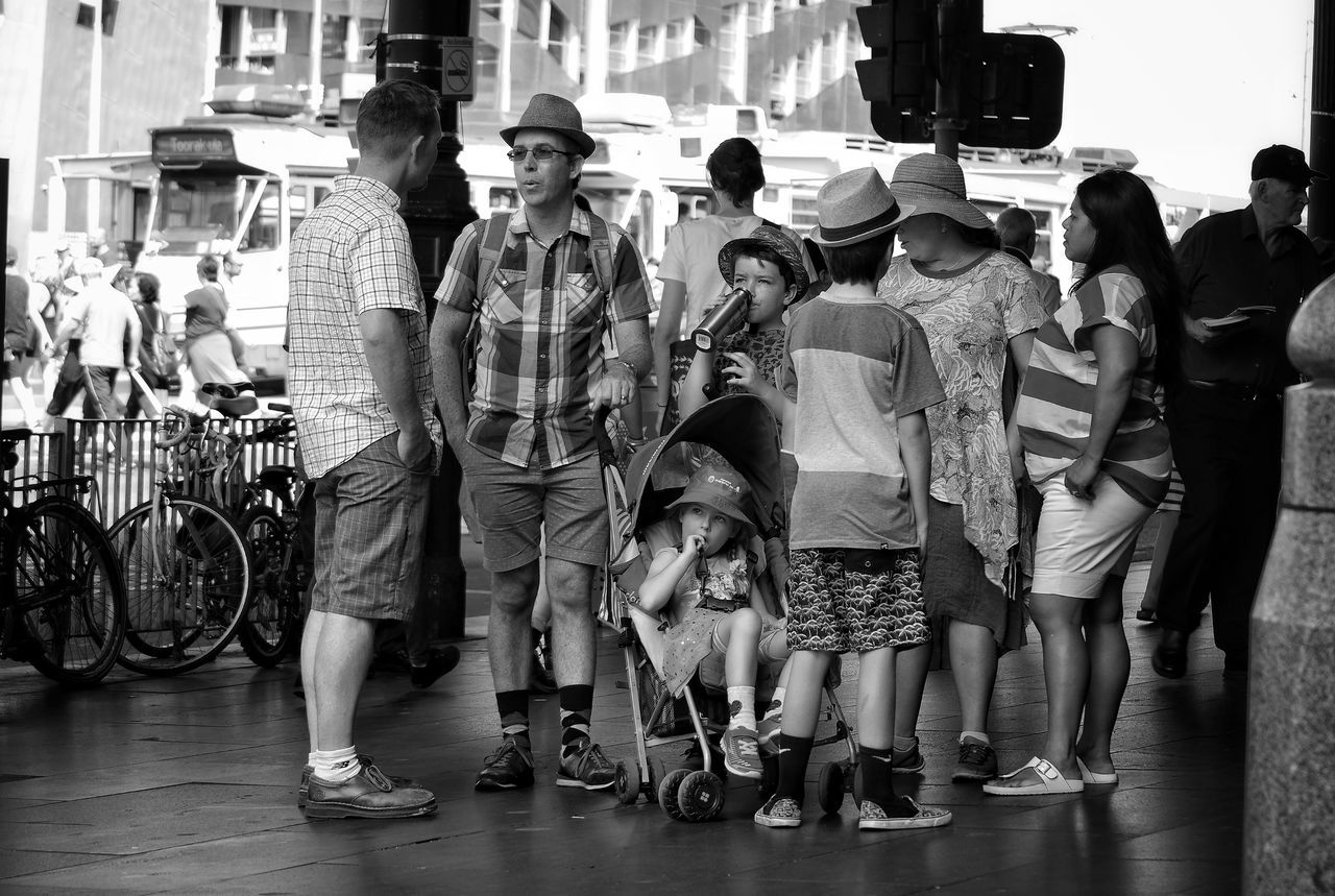 Large Group Of People People Full Length Family Time Family Trip Melbourne City Casual Clothing Monochrome Street Photography Black And White Real People People Photography Street Life City Outdoors Togetherness Friendship Street Hats Day Holiday Trip Candidly Human The City Light Spontaneous