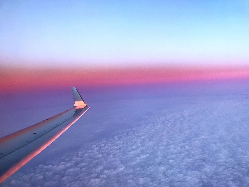 Nature Sky No People Outdoors Beauty In Nature Airplane Airplane Wing Cloudscape Tranquil Scene Idyllic Tranquility Cloud - Sky Sunset Travel