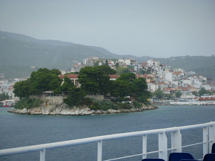 Arriving Skiathos Island Greek Islands Transportation Architecture Sea Village Greek Village Residential District Cloudy Day Village View Villagescape Picturesque Traditional Traditional Architecture On A Ship My Year My View Landscapes Finding New Frontiers Long Goodbye