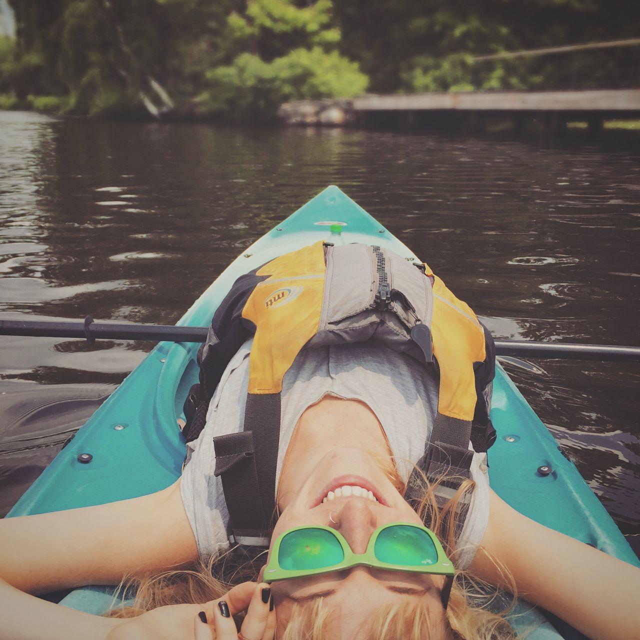 Kayaking Open Edit On The Water Outdoors Adventure Girl Smile Sunglasses