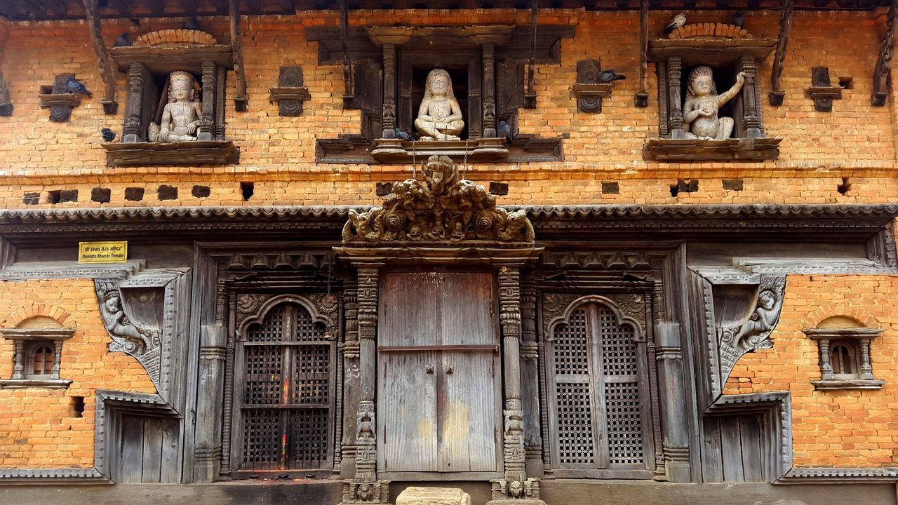 Architecture Bhairavtemple Brick Wall Building Exterior Built Structure Doordesigns Full Frame Historic Low Angle View Old Panautiolddcity Sculpture