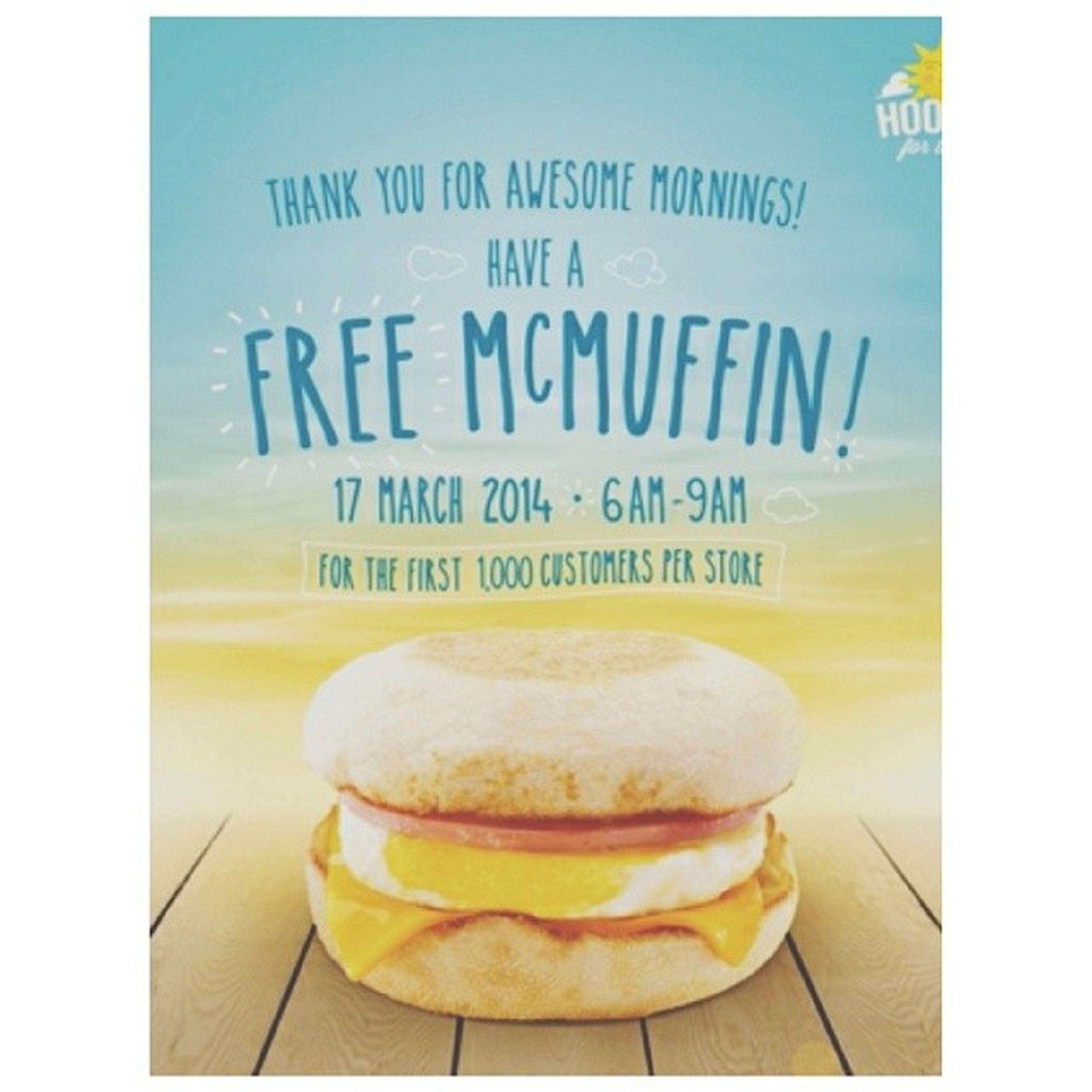 McDonalds : National Breakfast Day March17 FreeMcMuffins