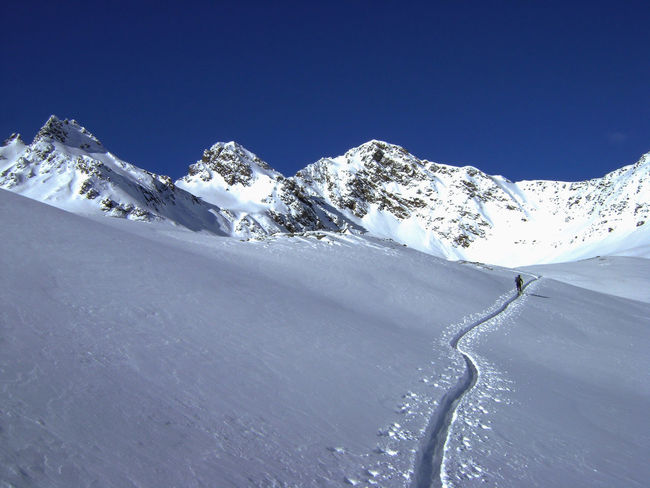 First Line Powderdays Ski Mountaineering Skiing Skitouring Snow Capped Mountains Traces In The Snow Winter