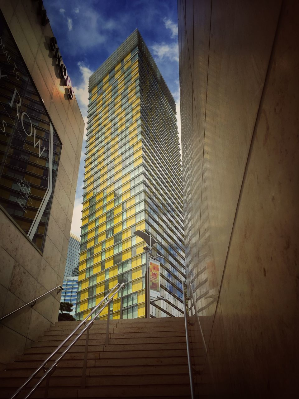 architecture, built structure, building exterior, modern, staircase, low angle view, skyscraper, steps, steps and staircases, sky, day, no people, outdoors, city