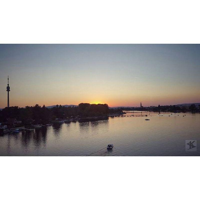 Danube River Olddanube AlteDonau sun skyline sky sundown ship water donauturm wien vienna greate shot out of the tube. ;-)
