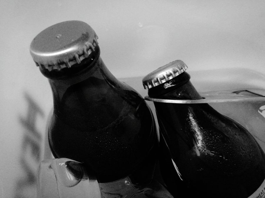 Two Is Better Than One Beer Time Hanging Out Drinking Icecoldbeer Beer Bottle Monochrome Photography