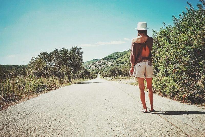 Fashion Women One Person One Woman Only Beauty Hat Young Adult Full Length Portrait Adults Only Rear View Loneliness Adult Beautiful People Only Women Old-fashioned Tree People Sunlight RoadMagic Place Historic Sites Island In The Sun