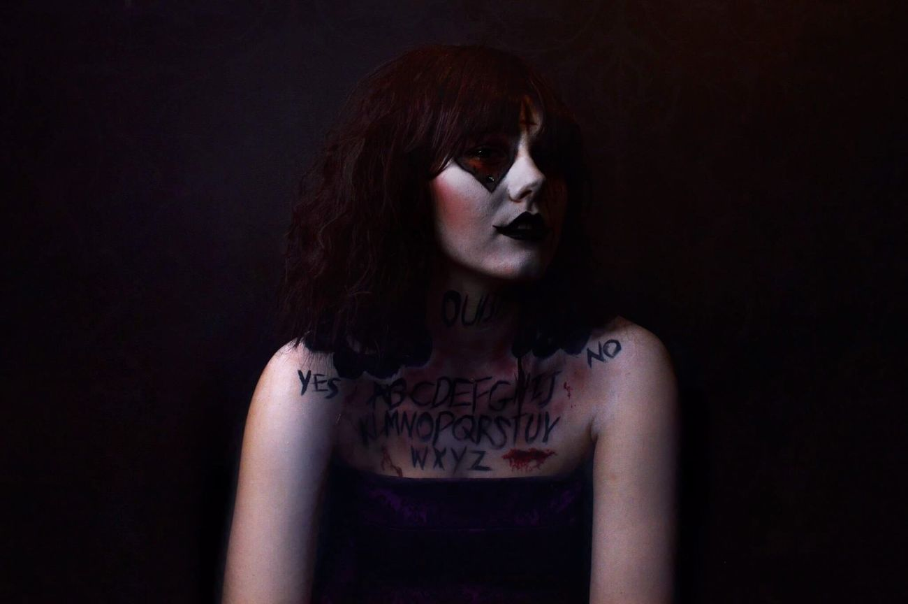 Ouija Ouija Board  Makeup Specialeffects Makeupartist Photoshoot Photographer Model Dark Horror Photography Photographers Scary Contacts Photographs Studio Darkness Deamon Spirits Setup Blood Black Background Halloween Pose Comment