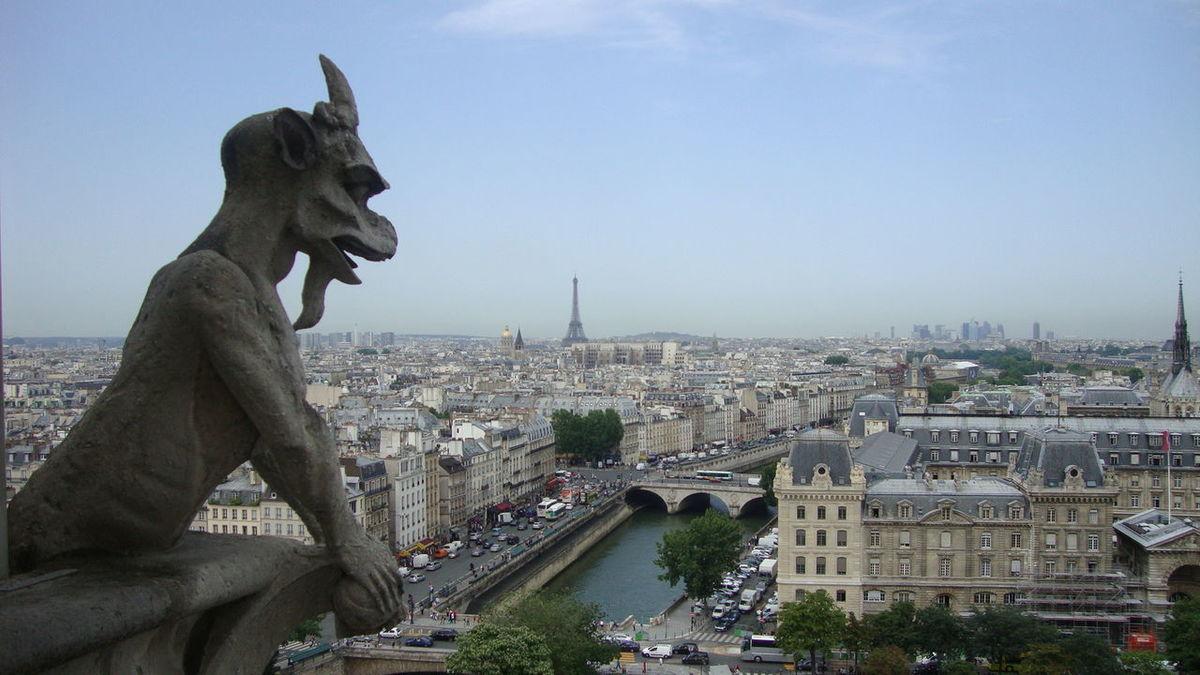 Architecture Blue Buidings City Cityscape Eiffel Tower Gargoyle Grey Notre Dame De Paris Outdoors Paris River Seine Sky