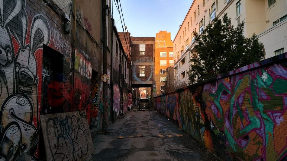 Amazing street art from the 6. God bless these talented artists expressing themselves and creating an incredible place for people to explore the city. Graffiti Brick Wall Colors Back Alley Puddle Walls The Architect - 2016 EyeEm Awards