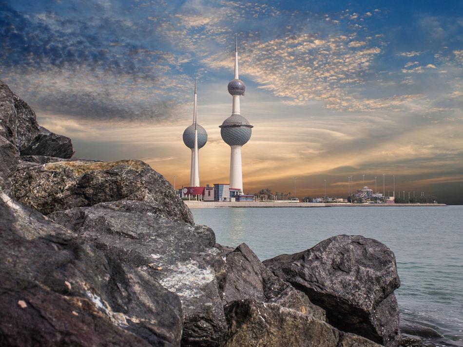 Tower Architecture Sunset Outdoors Sky Urban Skyline Kuwait Towers Kuwait Kuwait City
