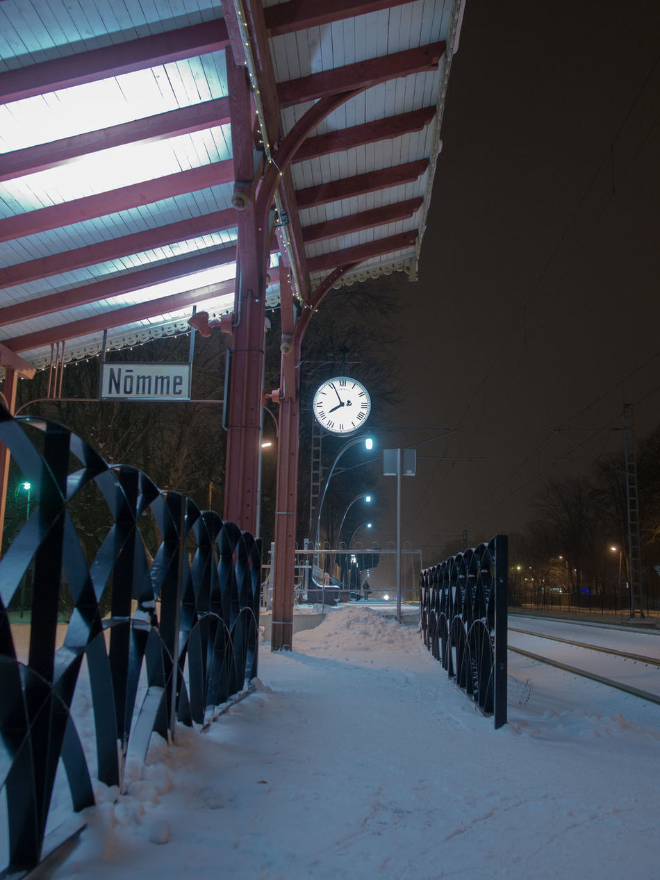 Cold Temperature Illuminated Night Night View Nightphotography No People Nõmme Snow Snow ❄ Tallinn Trainstation Winter