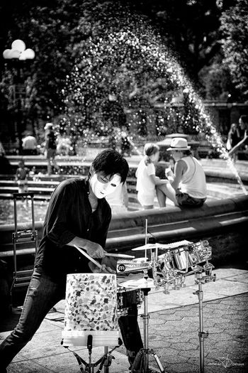 Drum solo... Blackandwhite Drummer New York New York Washington Square Park New York ❤ Steetphotography Streetmusician