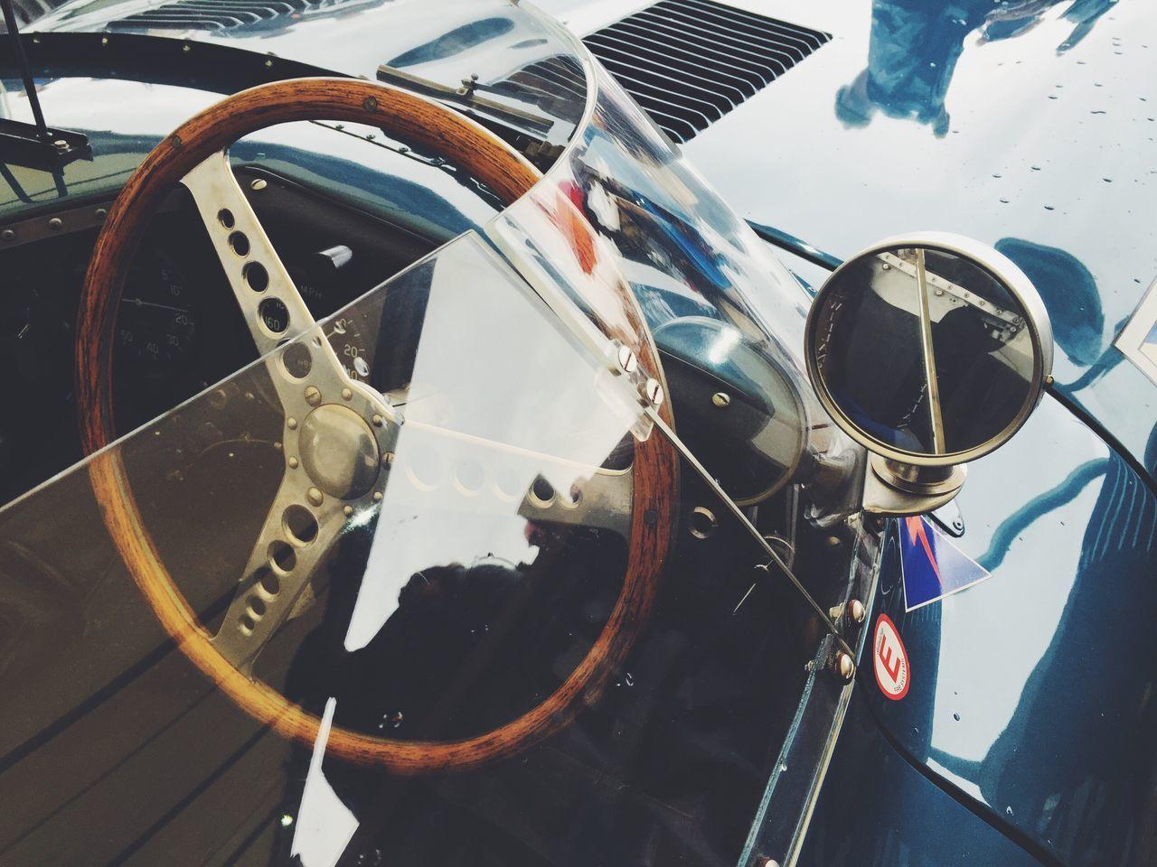 Ecurie Ecosse D-Type Jaguar detail Focus On Foreground No People Vehicle Hood racecar Jaguar D-type Motorsport Steering Wheel Cockpit Blue wing mirror Goodwood Revival 2016 Vintage Classic Car Well Loved Valuable Reflection Race racing