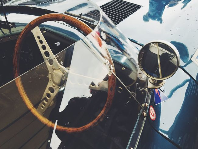 Ecurie Ecosse D-Type Jaguar detail Focus On Foreground No People Vehicle Hood racecar Jaguar D-type Motorsport Steering Wheel Cockpit Blue wing mirror Goodwood Revival 2016 Vintage Classic Car Well Loved Valuable Reflection Race racing