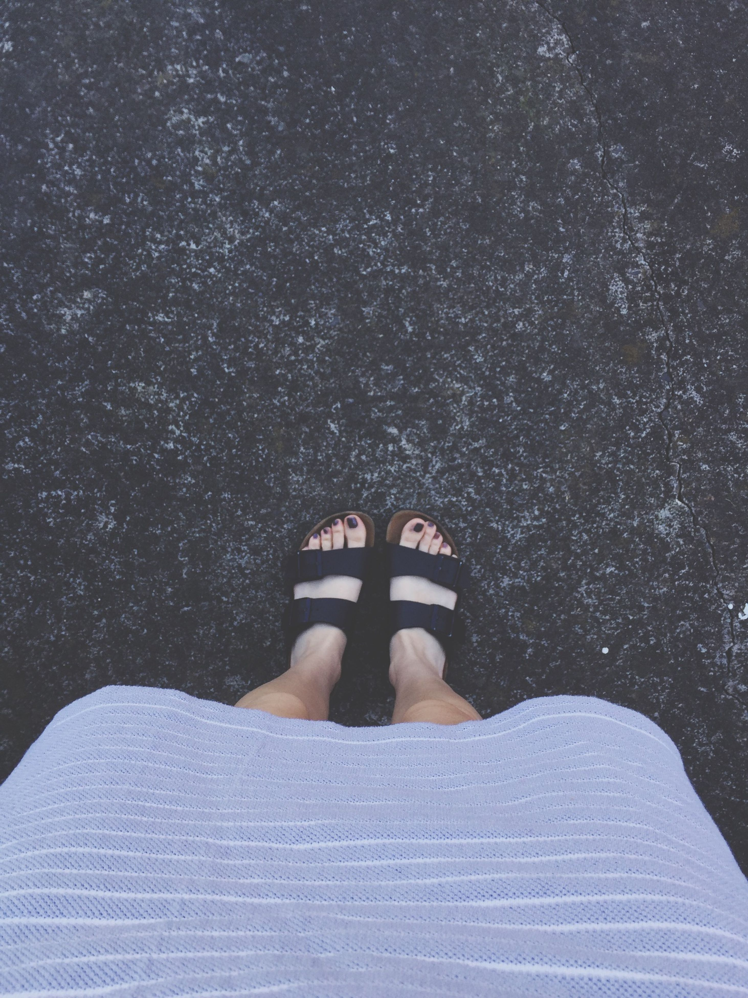 low section, person, personal perspective, lifestyles, shoe, human foot, high angle view, leisure activity, standing, footwear, men, part of, barefoot, relaxation, unrecognizable person, directly above